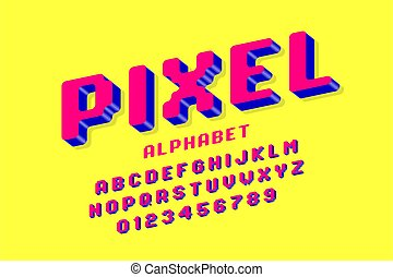 ピクセル, スタイル, 3d, アルファベット, 壷, ビデオゲーム, レトロ