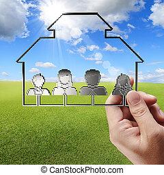 ピクセル, 概念, 家族, タブレット, 3d, 手, ビジネスコンピュータ, アイコン, ショー, 人