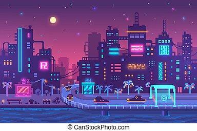 ピクセル, cyberpunk, 大都市, 芸術, バックグラウンド。