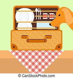 ピクニックの食物, basket., 犬, イラスト, 見る, ベクトル, tableware., バスケット, 開いた