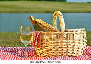 ピクニック, ガラス, バスケット, ワイン