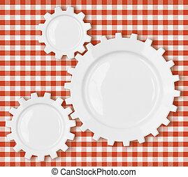 ピクニック, コグ, 上に, ギヤ, プレート, テーブルクロス, 赤