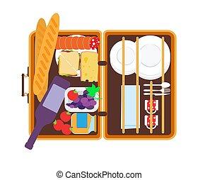 ピクニック, テーブルウェア, イラスト, 食物, ベクトル, バスケット, 開いた