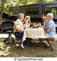ピクニック, テーブル。, 家族