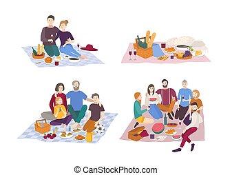 ピクニック, パークに, ベクトル, イラスト, set., 恋人, 友人, 家族, outdoors., 人々, レクリエーション, 現場, 中に, 平ら, style.