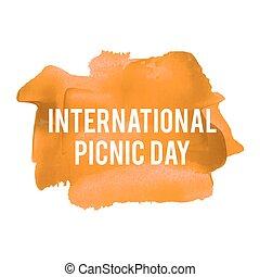 ピクニック, ポスター, カード, ペイントされた, テキスト, イラスト, 休日, 書かれた, ベクトル, ロゴ, 背景, オレンジ, インターナショナル, 祝福, 言葉, 日, レタリング