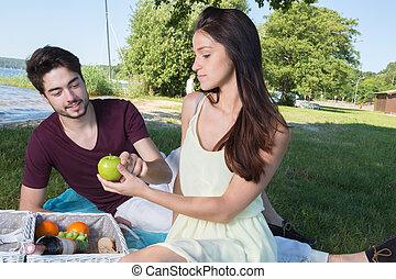 ピクニック, ロマンチック, 田舎, 恋人, 若い, 肖像画, の間