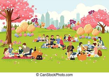 ピクニック, 人々, 春, 公園, の間, 持つこと