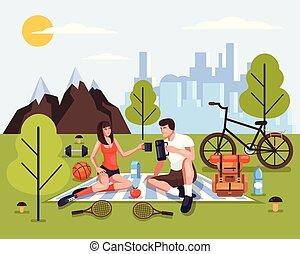 ピクニック, 人々, 2, デザイン, スポーツ, 観光事業, concept., 隔離された, park., 観光客, 女性がリラックスする, 自然, 恋人, イラスト, 冒険, 特徴, 週末, 人, グラフィック, ベクトル, 旅行