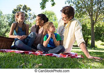 ピクニック, 公園, 家族, 幸せ