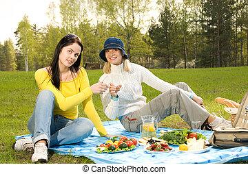 ピクニック, 女の子, 2, 美しい