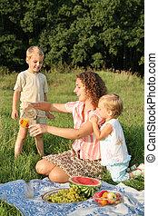 ピクニック, 子供, 母