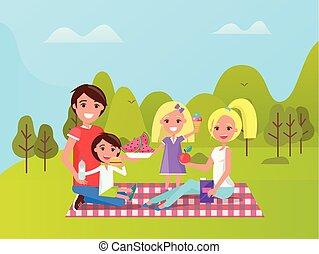 ピクニック, 家族, 出費, 時間, 休暇, 一緒に