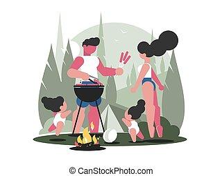 ピクニック, 家族, 子供, 若い