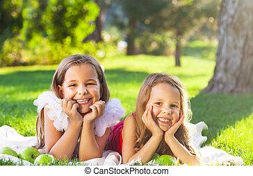ピクニック, 家族, 遊び, 微笑, 子供, 幸せ