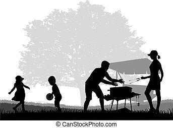 ピクニック, 庭, 家族