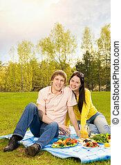ピクニック, 恋人, 若い, ロマンチック