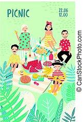 ピクニック, 明るい, 最新流行である, outdoors., スタイル, カラフルである, 若い, scene., ベクトル, 広告, 縦, リラックスしなさい, ポスター, text., theme., イラスト, 漫画, レクリエーション, プラカード, 人々, 場所, 友人
