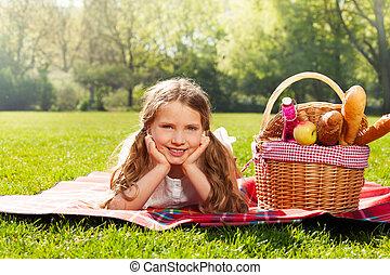 ピクニック, 春, 公園, ブロンド, 女の子, 愛らしい
