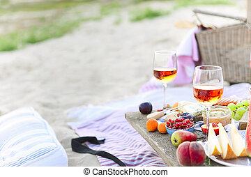 ピクニック, 浜, 日没, boho, スタイル