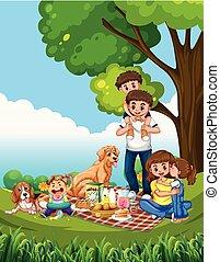 ピクニック, 現場, 家族