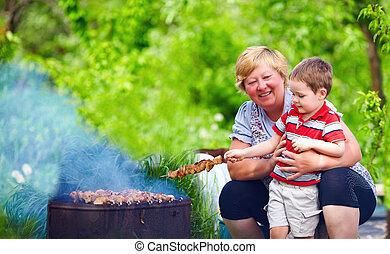 ピクニック, 肉, 祖母, 焼けている, 孫, 幸せ