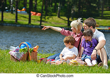 ピクニック, 遊び, 屋外で, 一緒に, 家族, 幸せ