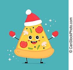 ピザ, かわいい, 微笑, スライス, 面白い