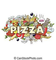 ピザ, イラスト, ベクトル, タイトル, デザイン, 手, 引かれる