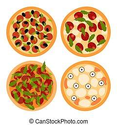 ピザ, イラスト, 白, バックグラウンド。, ベクトル