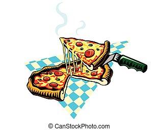 ピザ, チーズが多い, 暑い