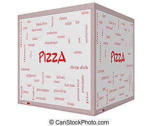 ピザ, 単語, 雲, 概念, 上に, a, 3d, 立方体, whiteboard