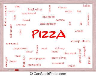 ピザ, 単語, 雲, 概念, 上に, a, whiteboard
