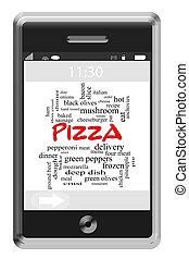 ピザ, 単語, 雲, 概念, 上に, touchscreen, 電話