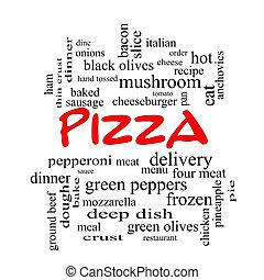 ピザ, 単語, 雲, 概念, 中に, 赤, 帽子