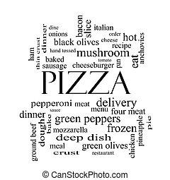 ピザ, 単語, 雲, 概念, 中に, 黒い、そして白い