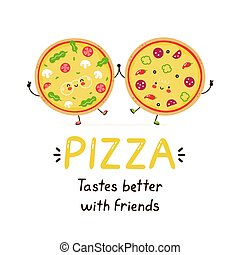 ピザ, 友人, 幸せ, かわいい, 微笑