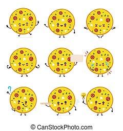 ピザ, 幸せ, かわいい, セット, 微笑, コレクション