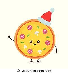 ピザ, 幸せ, かわいい, 微笑, 面白い
