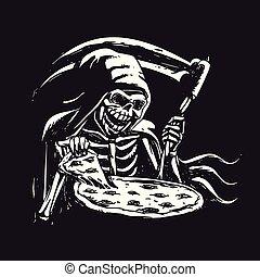 ピザ, 黒, -, 刈り取り機, 食べること, 厳格, 白