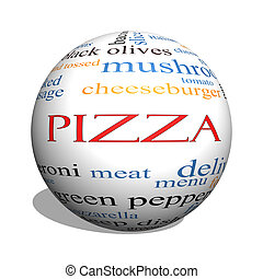 ピザ, 3d, 球, 単語, 雲, 概念