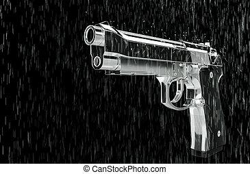 ピストル, 中に, ∥, rain.