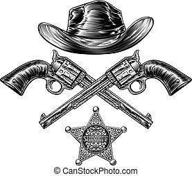 ピストル, 星, 保安官, カウボーイ, バッジ, 帽子