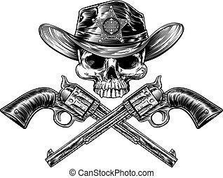 ピストル, 星, 保安官, 頭骨, カウボーイ, バッジ, 帽子