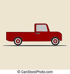 ピックアップ, truck., レトロ