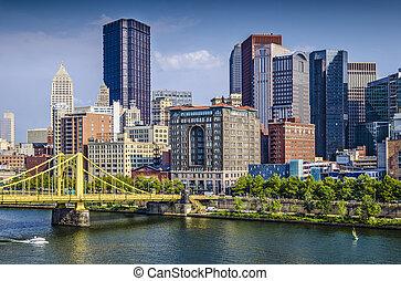 ピッツバーグ, アメリカ, 上に, ペンシルバニア, 日中, 現場, ダウンタウンに, river., ...
