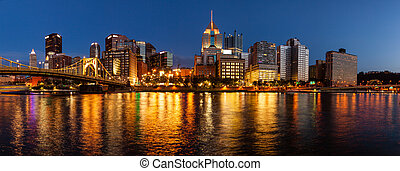 ピッツバーグ, スカイライン, 川, allegheny
