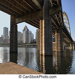 ピッツバーグ, 橋, スカイライン, 広場, 光景
