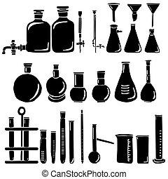 ピペット, 実験室テスト, セット, ガラス製品, 水まき, 研究, burettes, フラスコ, 実験, シルエット, ガラス, 缶, チューブ, びん, シリンダー, 測定