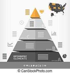 ピラミッド形, infographic, 要素